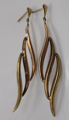 9ct gold tri-coloured earrings