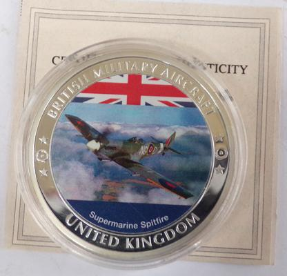 British Military Aircraft collector's coin in capsule