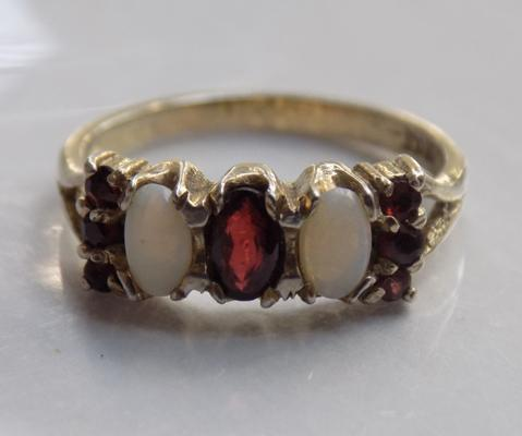 Vintage silver opal and garnet ring