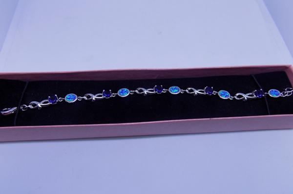 Sapphire crystal and opal white metal bracelet