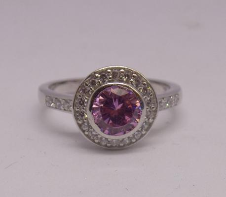 925 silver halo style ring with pink and white topaz - size P 1/2