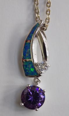 Opal & amethyst pendant on silver chain