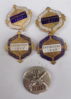 Four vintage enamel public transport badges and one other
