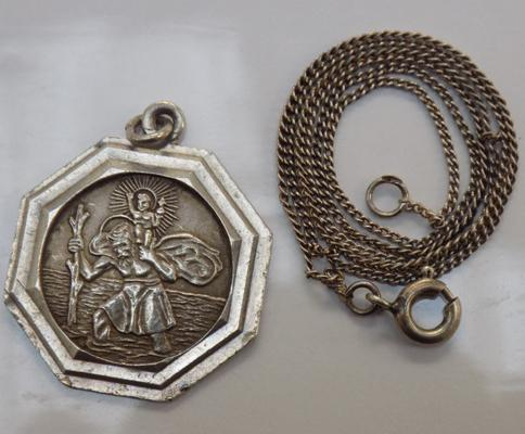 Silver St. Christopher pendant and chain