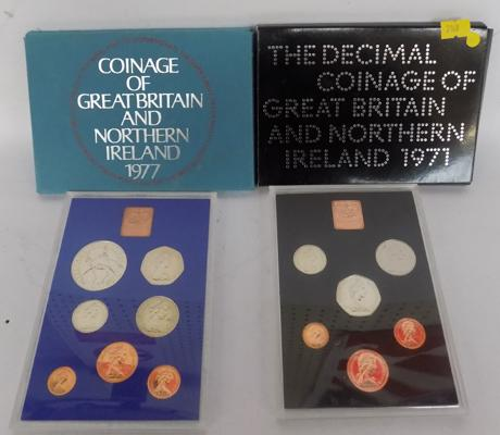 2 Royal Mint proof coin sets (1971 & 1977)