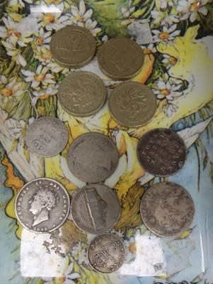 Four old £1 coins + 7 others, incl. silver