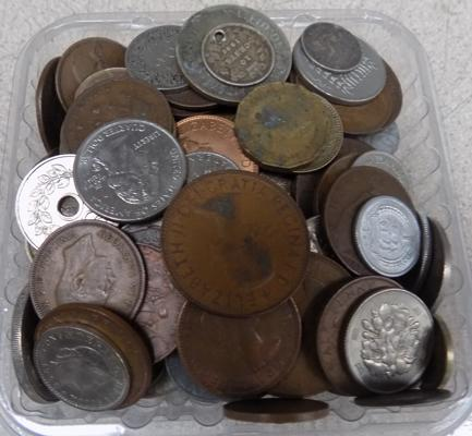 Tub of mixed coins, incl. silver
