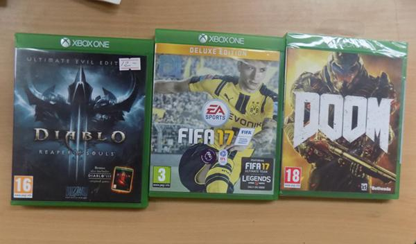 x 3 XBox games, incl. Diablo 3, Fifa 17 & sealed Doom