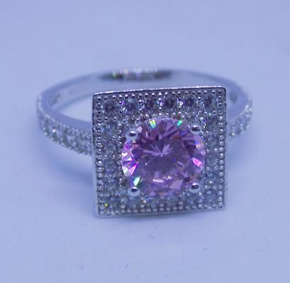 925 silver ring with pink and white topaz - size R