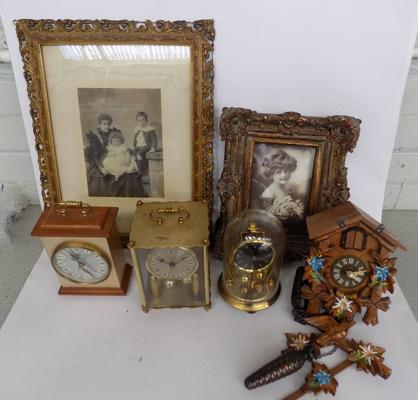 Box of mixed collectables incl; clocks