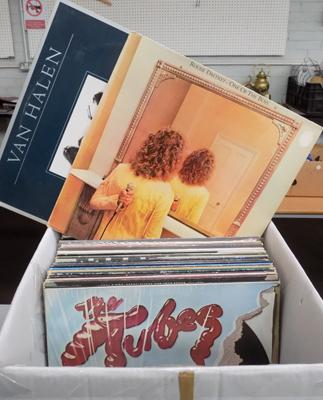 Large box of rock and pop records
