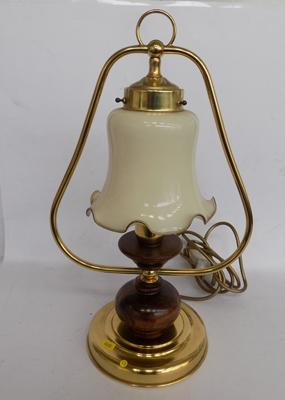 Brass table lamp with glass shade