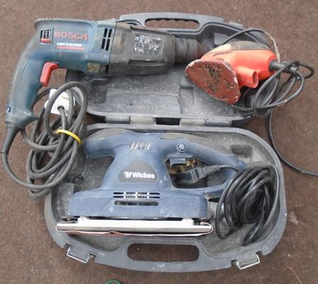 Mouse sander, Bosch drill, Wickes flat plate sander