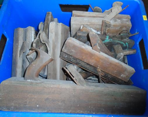 Large blue tub of wood work tools, incl. planes