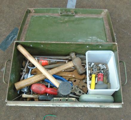 Metal tin of vintage tools