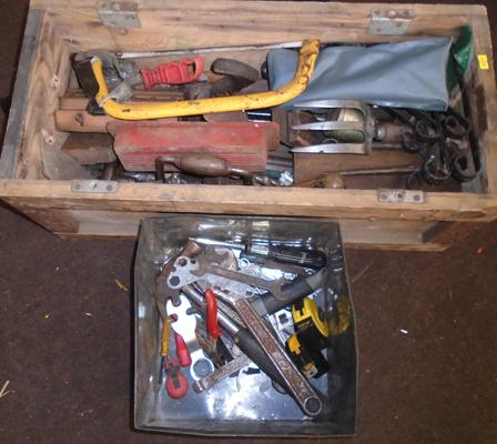 Wooden crate of tools + metal tin of tools