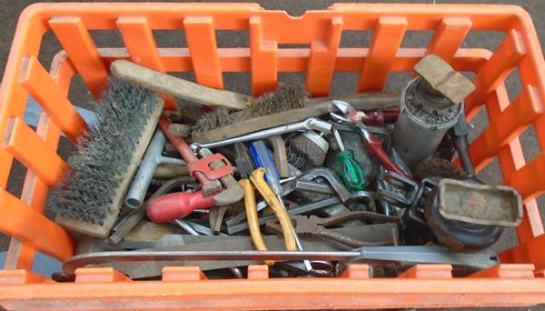 Crate of vintage tools