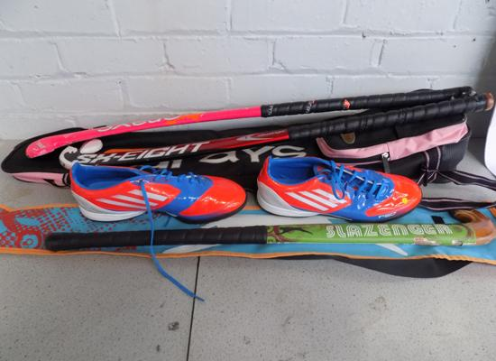 Adidas Adiprene traxion trainers + 3 hockey sticks, 2 holders, 2 balls