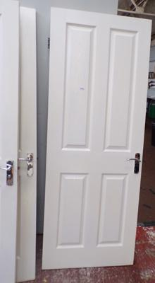 Two new standard size household doors with new locks & hinges, in good condition
