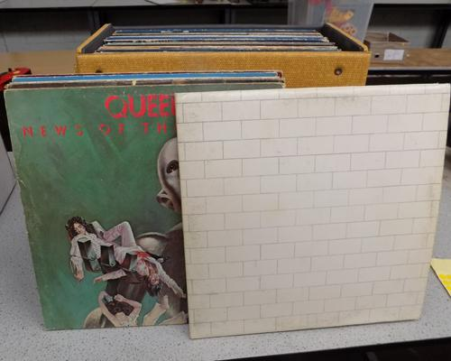 Selection of Rock LPs in case. Incl: Led Zeppelin, Deep Purple