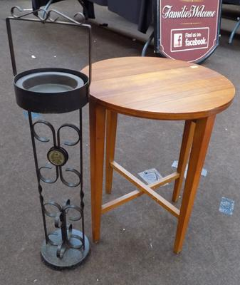 Wrought iron standard ash tray + folding occasional table
