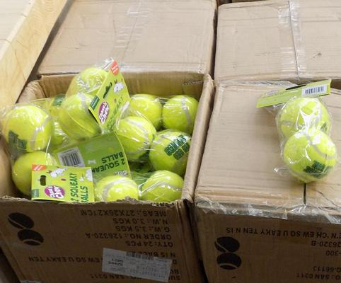 Pallet of 32 boxes x 24 packs of dog tennis balls
