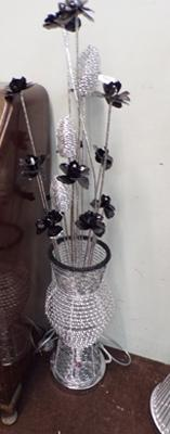 Tall silver & black flower lamp