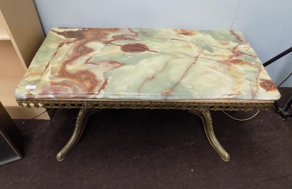 Brass & marble/onyx table