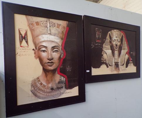 Two pieces of Egyptian wall art