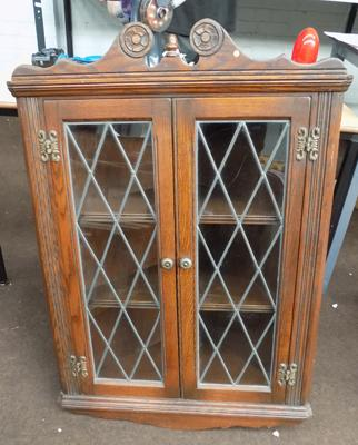 old charm glass corner wall cabinet