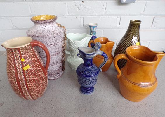Mixed lot of Earthenware including vase and jugs