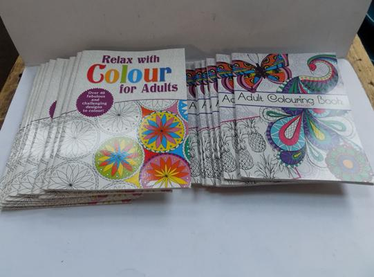 Box of adult colouring books