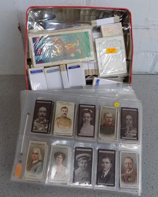 Cigarette cards & tin of trade cards