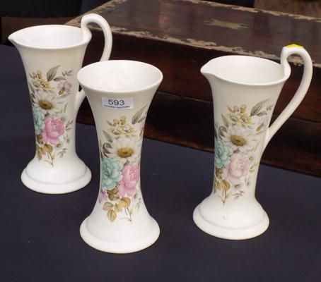 Three Poole vases