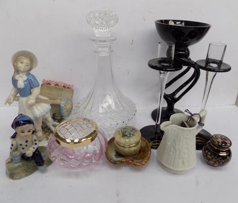 Box of collectables, incl. decanter & Caithness