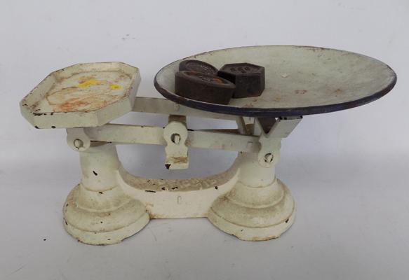 Vintage weighing scales with some weights
