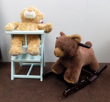 Child's rocking bear, high chair with teddy