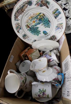 Box of ceramics including bone china