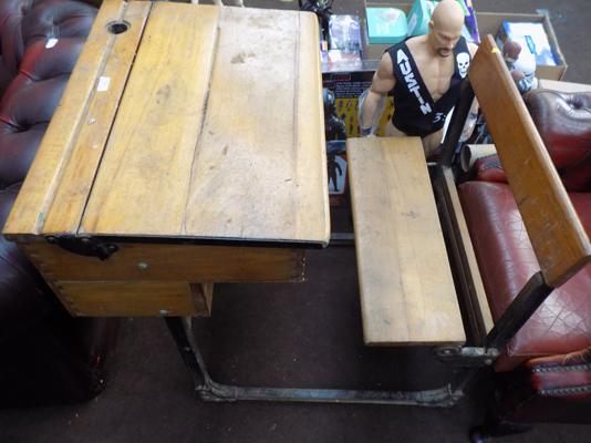 Antique cast iron frame school desk