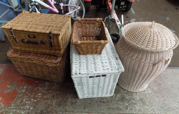 Large selection of wicker baskets