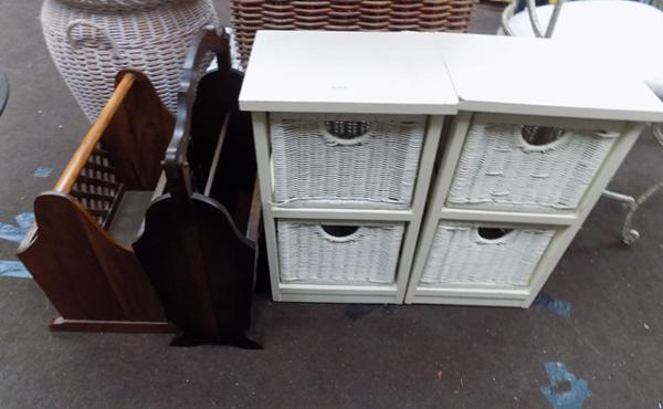2 magazine racks and 2 wicker drawer sets