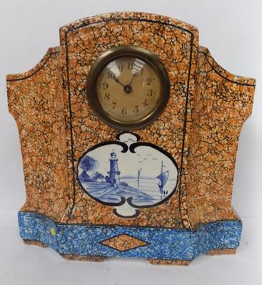 Antique Delph pottery mantle clock, 12 inches by inches