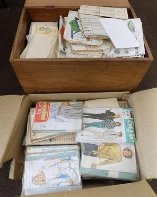Vintage sewing box + large collection of sewing patterns