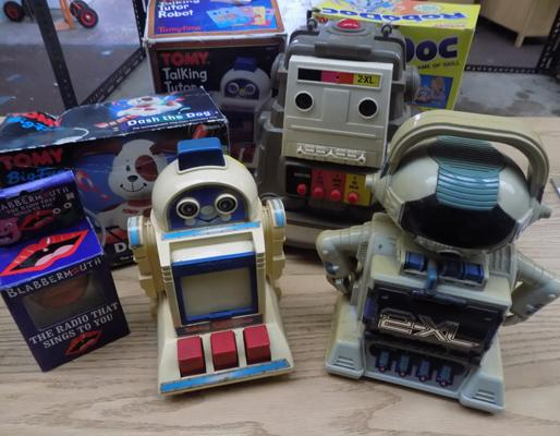 Box of retro Tomy robots