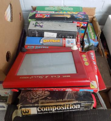 Box of vintage games and puzzles