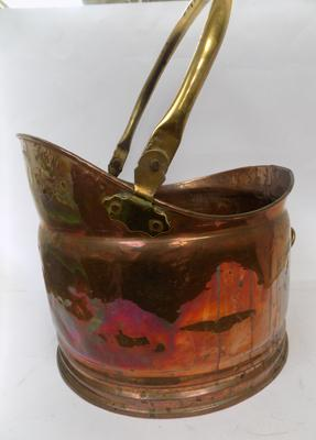 Large copper & brass coal bucket