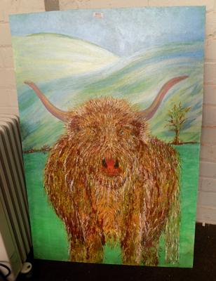 Highland cow painting/acrylic
