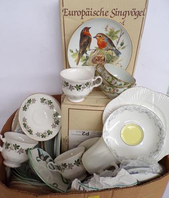 Box of pottery incl: Shelley, Royal Albert, Royal Doulton