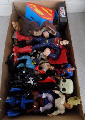 Box of action figures - Spiderman, Superman, He- Man & other TV characters