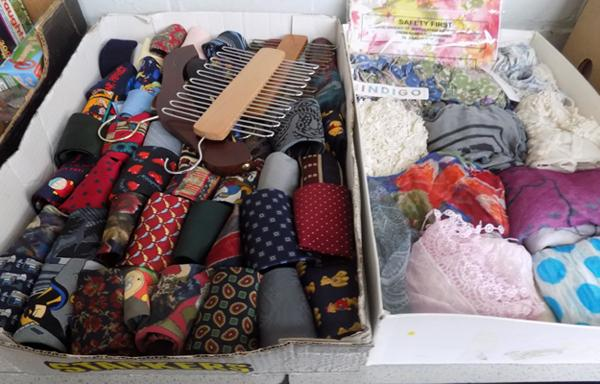 Selection of men's neck ties and ladies scarves